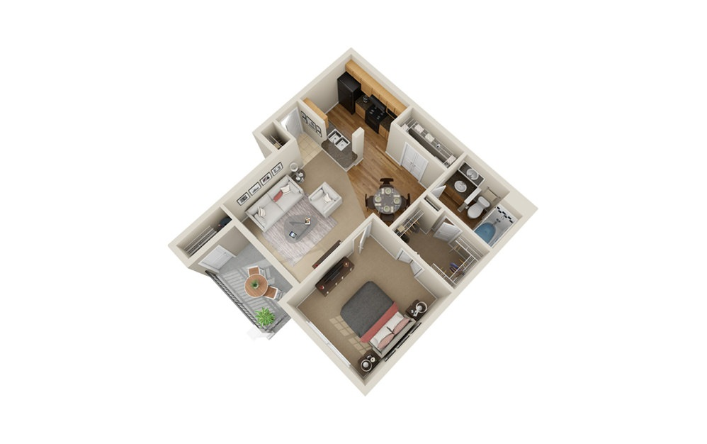 A1 - 1 bedroom floorplan layout with 1 bath and 620 square feet.