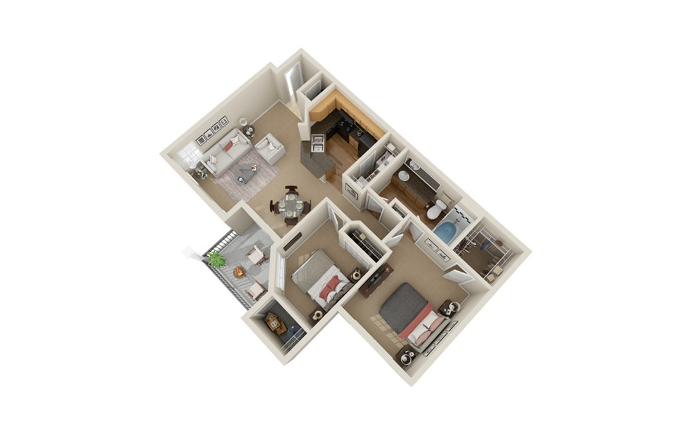 B1 - 2 bedroom floorplan layout with 1 bath and 850 square feet.
