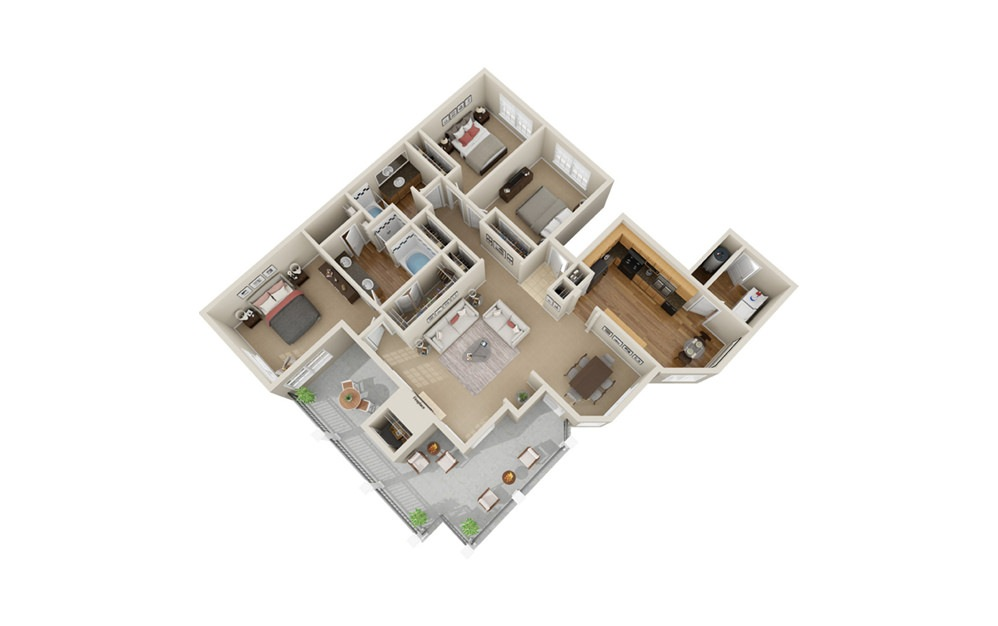 C2 - 3 bedroom floorplan layout with 2 baths and 1510 square feet.
